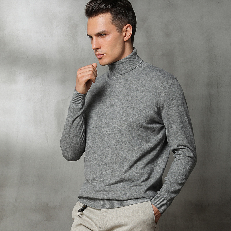 Autumn And Winter New High-neck Cashmere Sweater Men's Loose Large Size Sweater Business Casual Solid Color Sweater