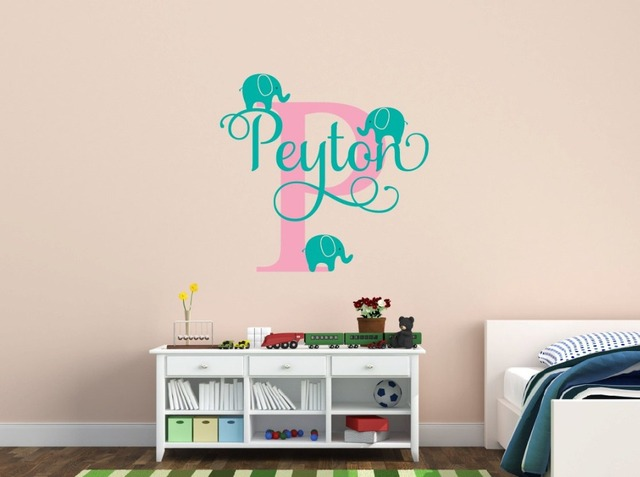 Customized Name Elephant Wall Decal For S Kids Baby Room Nursery Wallpaper Removable Vinyl Sticker