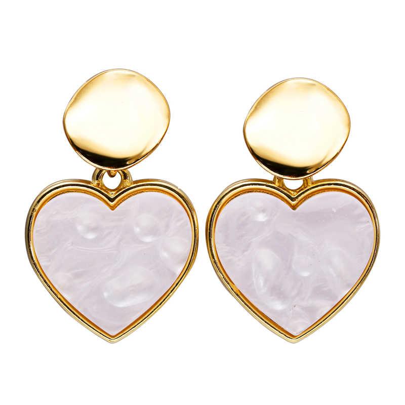 9f15282f69987 AY New Korean Earrings For Women Lover Fashion Milky White Acrylic Heart  Dangle Earring Wedding Geometric Jewelry Wholesale