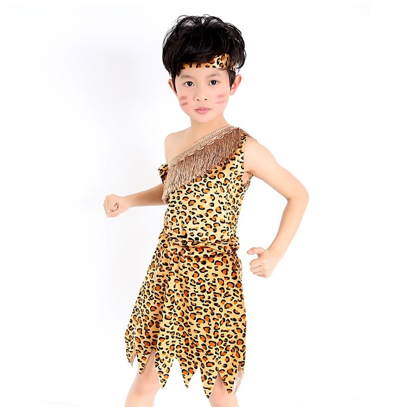 262da04076b6f5 Dzieci savage jaskiniowiec kostiumy chłopiec leopard flintstone afryki  tribal Hunter strój indyjski dla dziewczyny w Dzieci savage jaskiniowiec  kostiumy ...