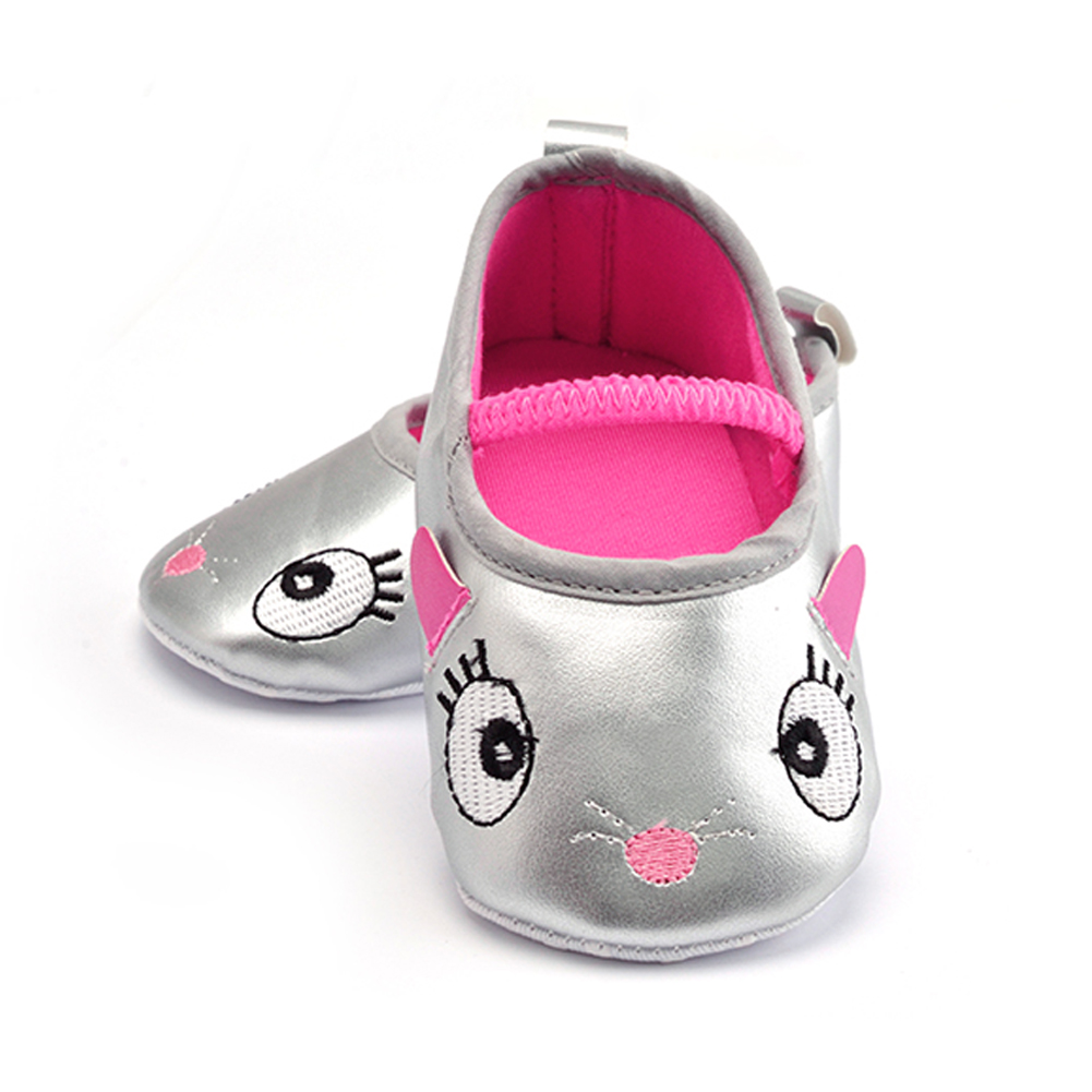 Baby Girl Shoes PU Leather Infant Toddler Newborn Baby Children First Walkers Crib Soft Shoes Footwear Prewalker Silver