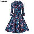 Tonval Vintage Tunic Autumn Winter Dress Women Floral 2/3 Sleeve Rockabilly Retro 1950s Audrey Hepburn Style Dresses