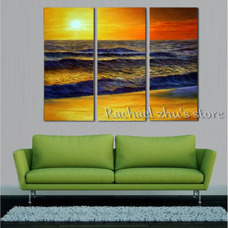 Hand Painted Abstract Seascape Beach Oil Painting On Canvas Three Pieces  Sunset Scenry Art Wall Pictures Living Room Home Decor In Painting U0026  Calligraphy ...