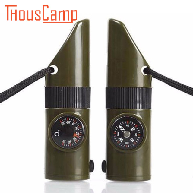 7in1 Multifunctional Camping Survival Whistle Compass Thermometer Magnifier LED Flashlight Military Survival Kit