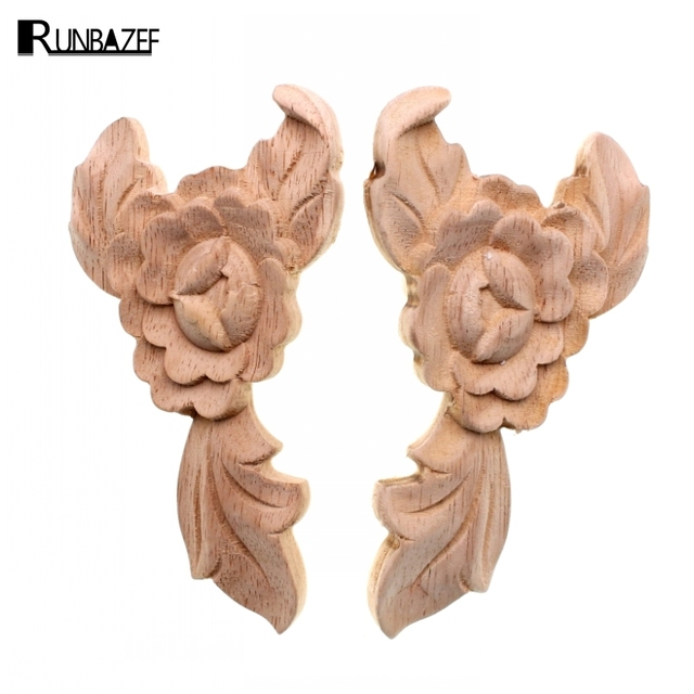 RUNBAZEF Style Exquisite Classic Wood Carved Applique Furniture Vintage Home Decoration Accessories Decor Door Wall Figurine