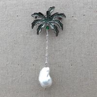 GE121912 White Keshi Pearl Cocos Cz pave Brooch