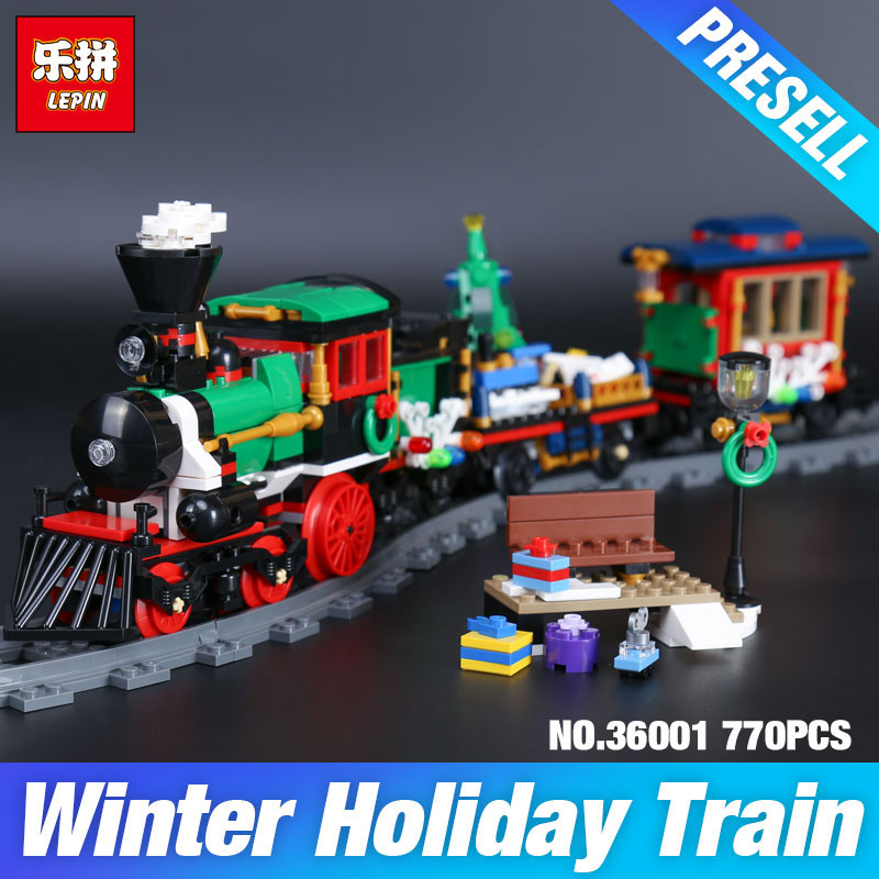 Lepin 36001 770Pcs Creative Series The 10254 Christmas Winter Holiday Train Set Children Building Blocks Bricks Christmas Gifts dhl lepin 36001 winter holiday train 36011 winter village train educational building blocks toys gifts clone with 10254 10259