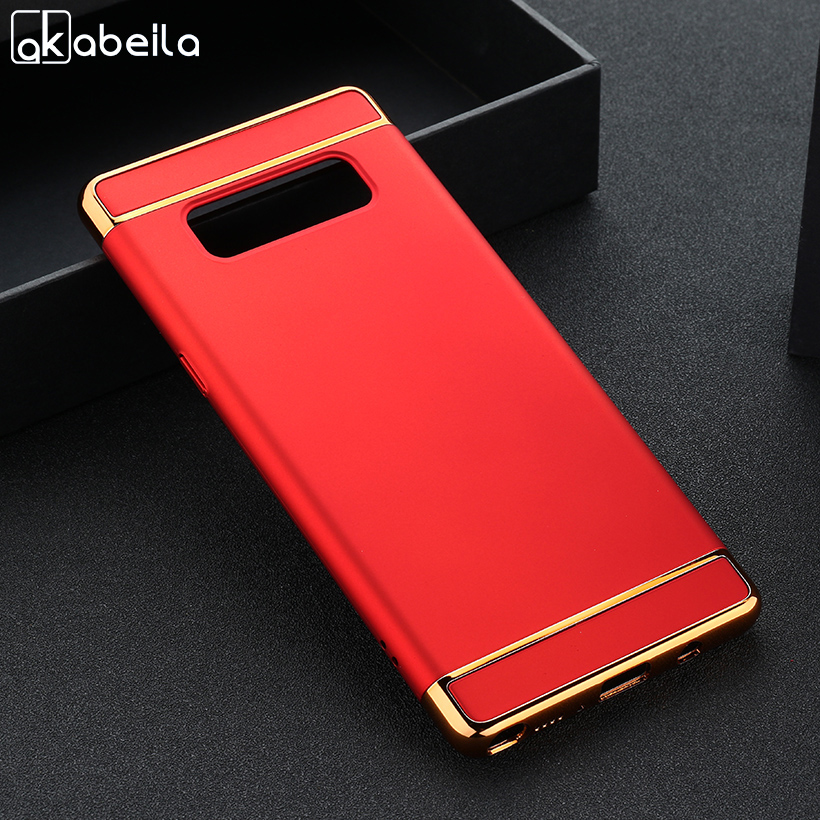 AKABEILA Plating Plastic Case For Samsung Galaxy Note 8 Note8 5.7 inch Covers Phone Plating Back Shell Skin Housing