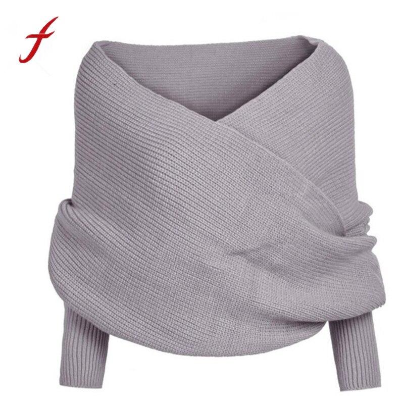 FEITONG Multifunction Women Solid Scarf Sleeve Crochet Knit Long Soft Winter Keep Warm Shawl Luxury New