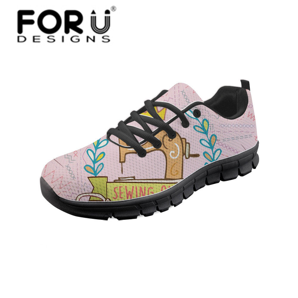 FORUDESIGNS Women Breathable Trainers Casual Vulcanized Shoes Flat Shoe Sewing Machine Floral Print Sneakers Pink Mesh Footwear