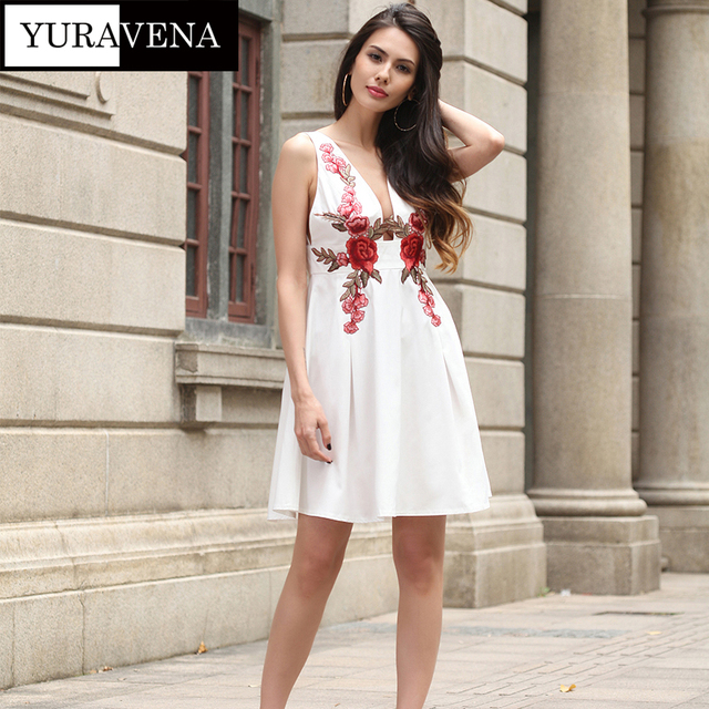 377f2d50454 New arrival women sexy white dresses sleeveless women s summer sundress  embroidery flower dress pleated