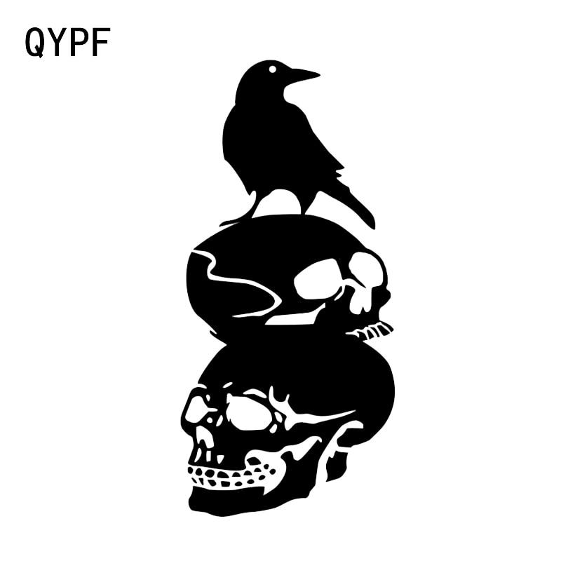 QYPF 8.3*17.7 Interesting Halloween Skull Crow Decor Car Sticker Accessories Vinyl Silhouette C16-2415