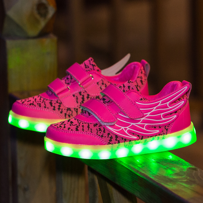 Wing Children Shoes With Light Boys And Girls Casual LED Shoes For Kids 2016 Good Quality LED Light Up Usb 4 Colors Kids Shoes 2018 children pu shoes with led light