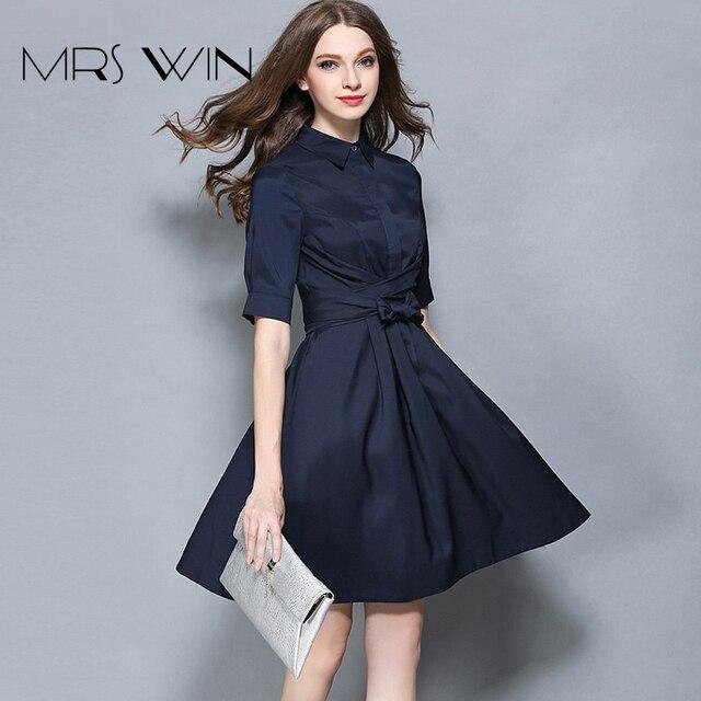 d3dc5e8d0f1d3 Mrs win Stile Dark Blue Breve Abiti Casual Donna Abiti lavoro D ufficio  Vestito Vestidos