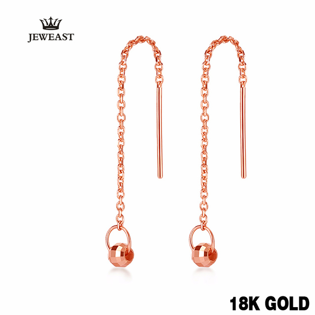 18k Pure Gold Drop Earring Trendy Exquisite Beautiful Elegant Classic Girl Miss Gift Wear 2017 New Women Party Good Fine Buauty
