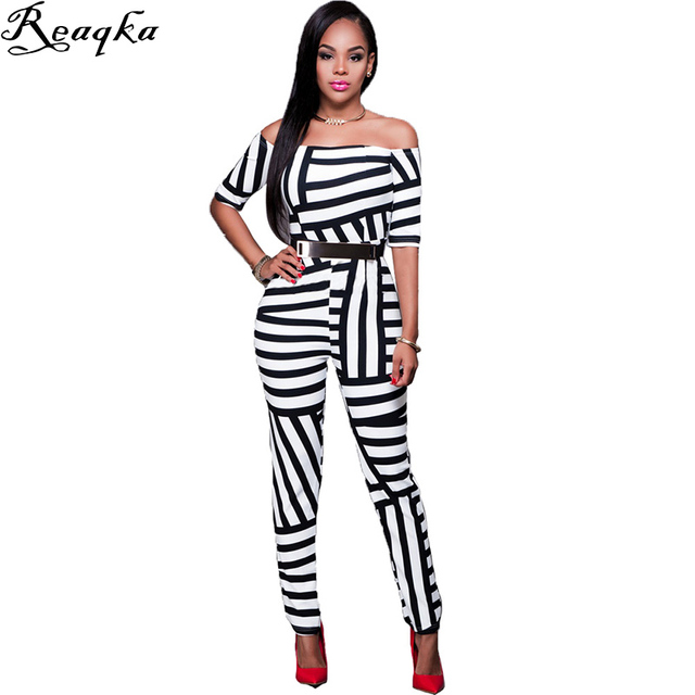 New Arrival 2016 Summer Bodycon Jumpsuit Long Bodysuit Women Skinny Black white Striped elegant Pants Sexy party Club Playsuit