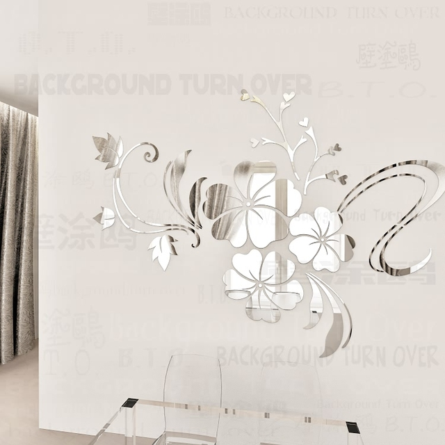 Hot Sell DIY Spring Nature Hibiscus Flower Mirror Decorative Wall Sticker  Home Decor 3d Wall Decoration