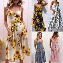 2019 Summer Women's Bohemian Beach Dresses Print Retro Sexy Floral Dress Women's Halter Halter Sexy Banquet Dress office lady floral print halter sheath dress