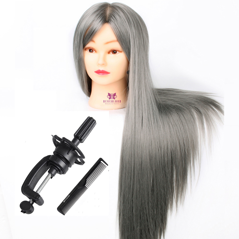 """28"""" Mannequin Heads Doll For Hairstyles Practice Grey Color Thick Long Hair Hairdressing Training Manikin Head Model Display"""