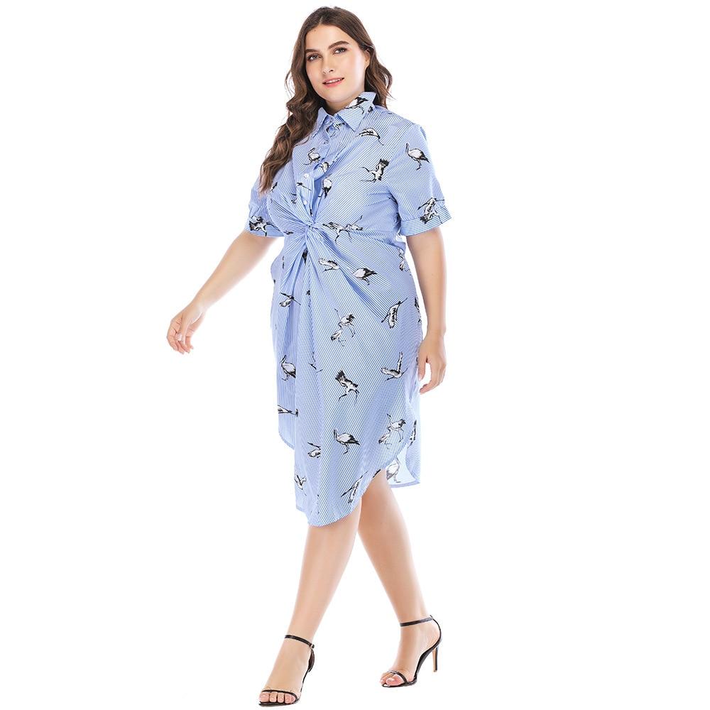 3c2922326e4c TUHAO 2018 Office Lady Women Shirts Dress Elegant Short Sleeve Striped Dresses  Plus Size 5XL 4XL Summer Dress Vestidos CM60