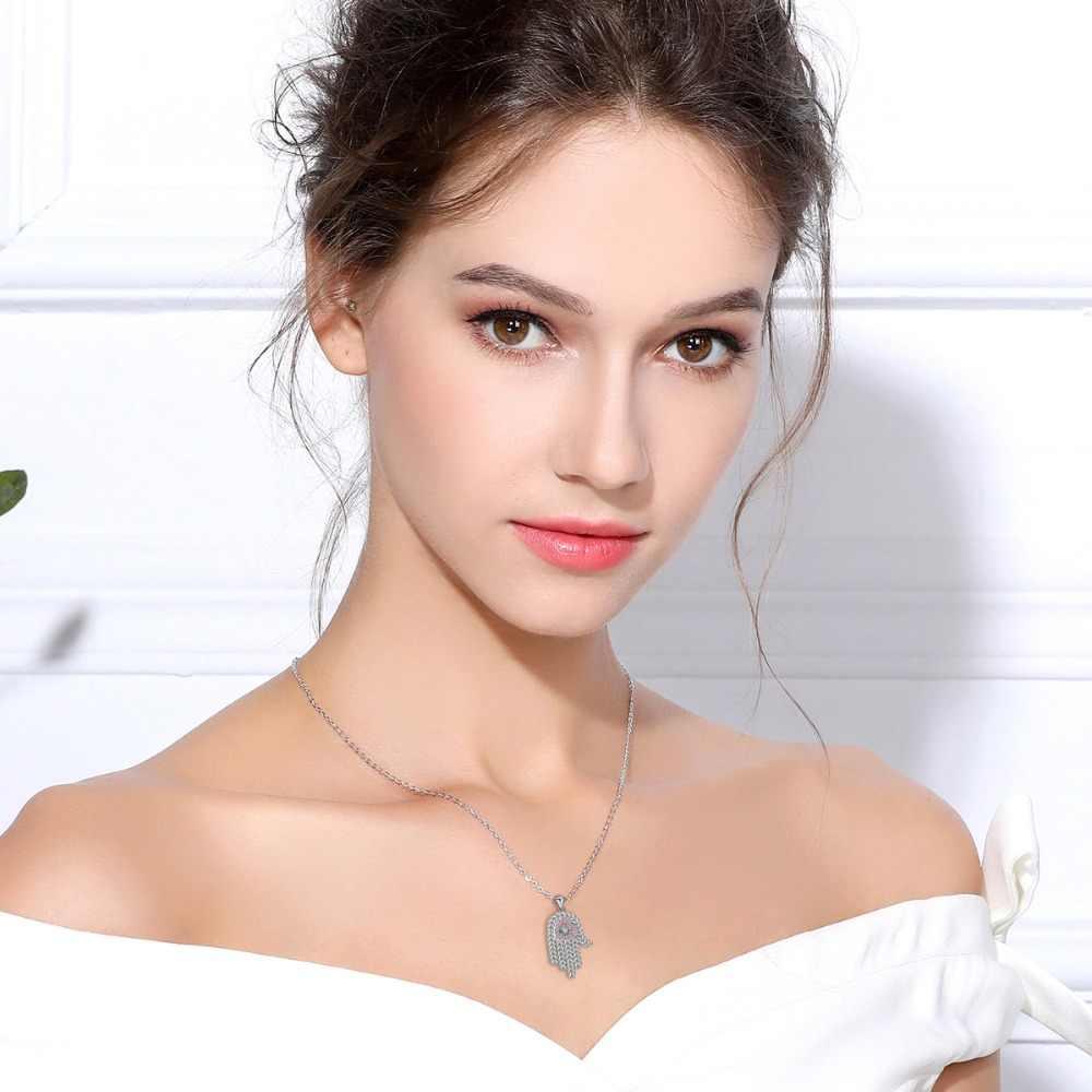 EUDORA 925 Ayar Gümüş Pembe Kalp CZ Hamsa El Kolye Kolye Kadınlar Için Melek Arayan Iyi Şanslar Takı Benzersiz Hediye CYD321