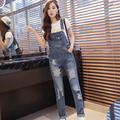 Women Denim Jumpsuit 2017 New Spring Autumn Casual Hole Slim Vintage Solid Jeans Overall Women China Cheap Clothing C457
