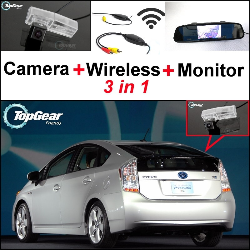3 in1 Special Rear View Camera + Wireless Receiver + Mirror Monitor Backup Parking System For TOYOTA Prius 2009~2014 3 in1 special rear view camera wireless receiver mirror monitor back up parking system for honda jazz 5d 2002 2013