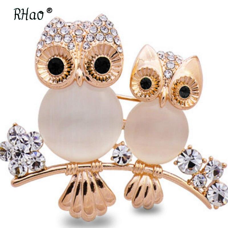 Women Enamel Crystal Pearl Flower Cute Owl Bird Brooch Pins Girls Buckle Jewelry