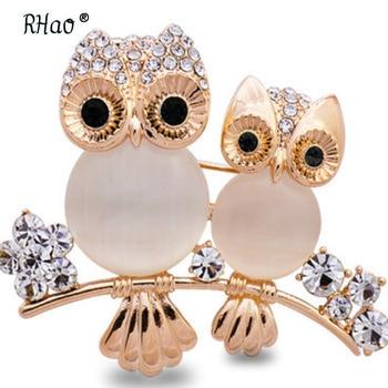 Романтичная брошка RHao с опаловым совом, для мам и детей, в виде животных, с кристаллами, на заколках, для женщин и девочек, одежда для птиц, ювелирная брошка с пряжкой