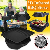 3D Infrared Electric Smokeless BBQ Grill Stove Barbecue Kebab Roaster Non Stick Cycle Heating 110V/220V US/EU Plug Adjustment