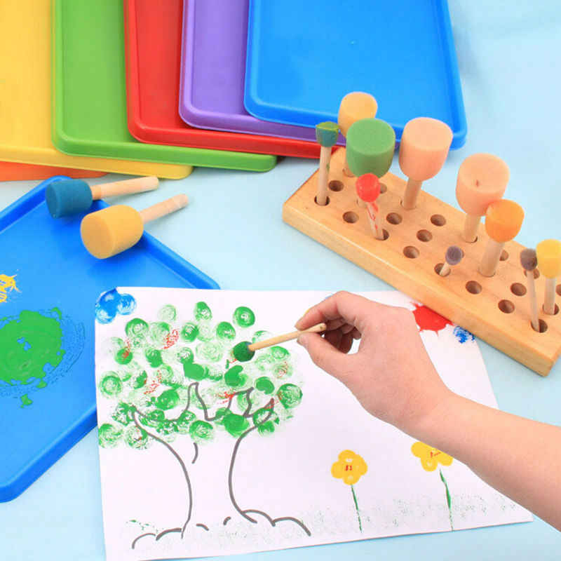 4pcs/Set Yellow Sponge Paint Brush Wooden Handle Painting Tool Graffiti Kids Diy Doodle Drawing Brushes Coloring for Children