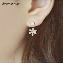 New Popular Pearl Inlaid Earrings Gold And Silver five-leaf Flower Wearing Earrings Women's Metal Alloy Jewelry Party gift(China)