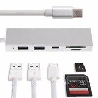5in1 Type C Naar USB 3.0 Hub Combo SD/Tf-kaart Reader Voor MacBook Pro Chromebook HP USB Hubs Hoge Kwaliteit C26