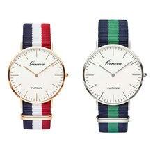 80d358e7a8a Moda das mulheres dos homens unisex genebra platina nylon tecido relógio  esporte fino pulso da lona de quartzo vestido relógios .