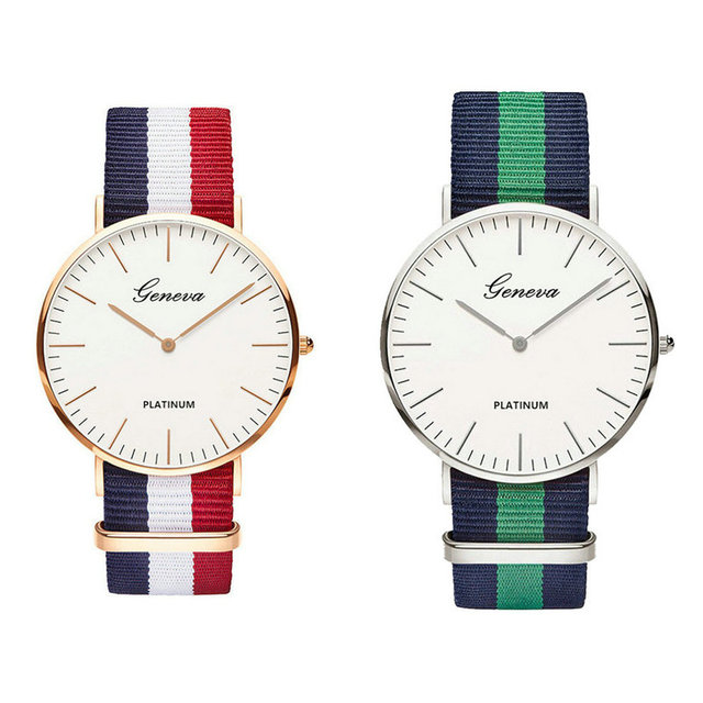82783e79f52a Moda hombres mujeres Unisex Geneva Platinum Nylon tela reloj deporte  pulsera fina lienzo cuarzo vestido relojes de pulsera para hombres mujeres