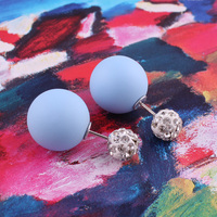Top New Material Shining Full Crystal Double Sides Pearl Stud Earrings Rubber Double Ball Bead Stud Earrings For Women Brincos 2
