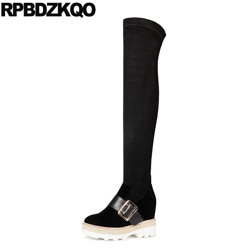 Slim Over The Knee Shoes Platform Black Sexy Suede Thigh Women Boots Luxury High Long Stretch Round Toe Fashion New Chinese enmayer new fashion high heels long boots shoes woman over the knee zip round toe 3 colors black shoes platform shoes sexy charm