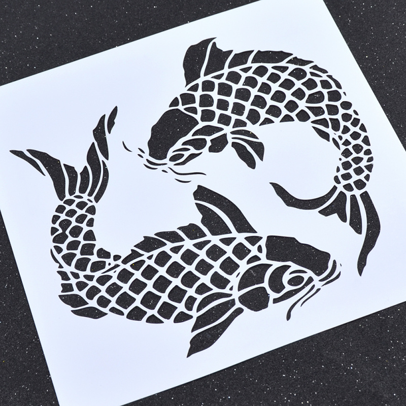 She Love Double Fish Pattern Wall Painting Paint Stencil DIY Reusable Art Craft Home Decorative Template unique high quality several patterns airbrush painting stencil diy home decorative scrapbooking album craft tool 233653