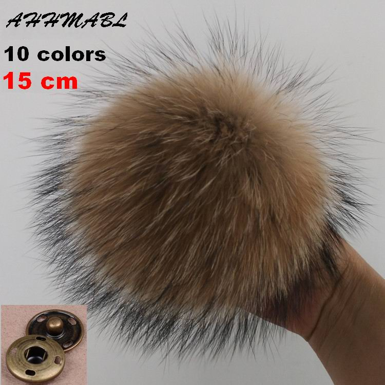 15cm DIY Ekte Real Raccoon Fur Pompom Fur Pom Poms For Women Kids Beanie Hatter Caps Big Size Natural Ball For Shoes Caps Vesker