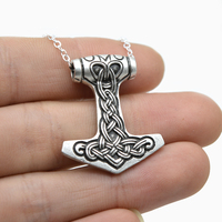 10pcs Tiny Thor's Hammer Mjolnir Pendant Necklace For Women Norse Viking Necklace Talisman Amulet Necklace Silver Bronze CT416