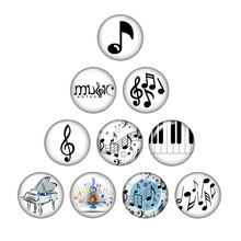 Music Notes Print Glass Cabochon