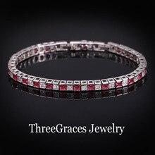 Joyería de Moda CZ Imitado Diamante de Rubíes Rojo Cubic Zirconia Cristal Tenis Charm Pulseras Brazaletes Para Mujeres Regalos BR047