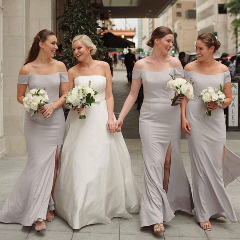 lamiabridal Light Gray Simple Off The Shoulder   Bridesmaid     Dresses   Short Sleeves Satin Front Slit Wedding Guest Party   Dresses