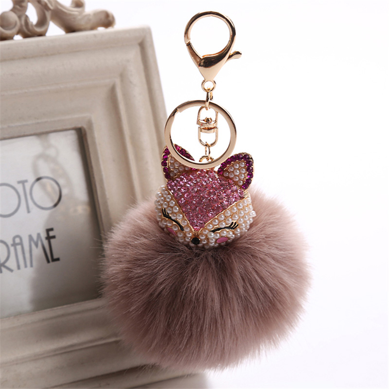 2017 New Artificial Rabbit Fur Ball Keychain Rhinestone Crystal Fox Head Pompon Trinket Key Chain Handbag Fluffy Key Ring Holder 13