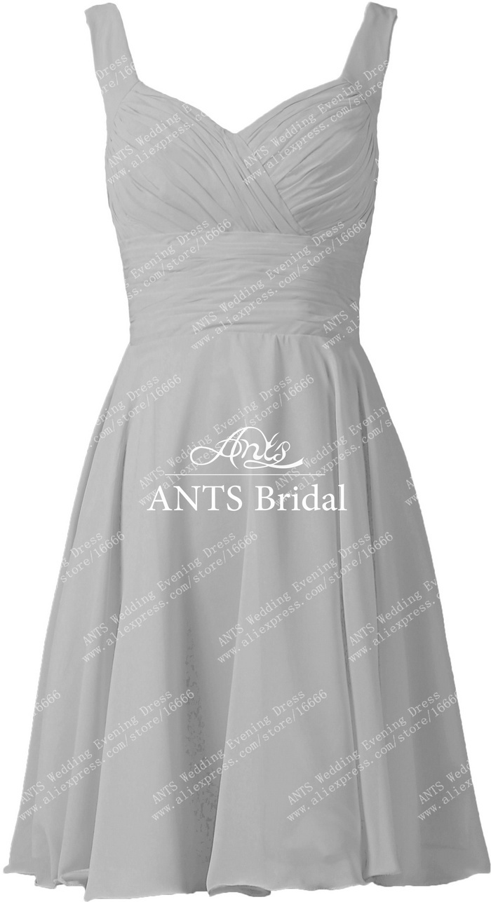 8521c99e4c6 ANTS Discount Straps Sleeveless V Neck Chiffon Bridesmaid Dresses Short  Silver-in Bridesmaid Dresses from Weddings   Events on Aliexpress.com