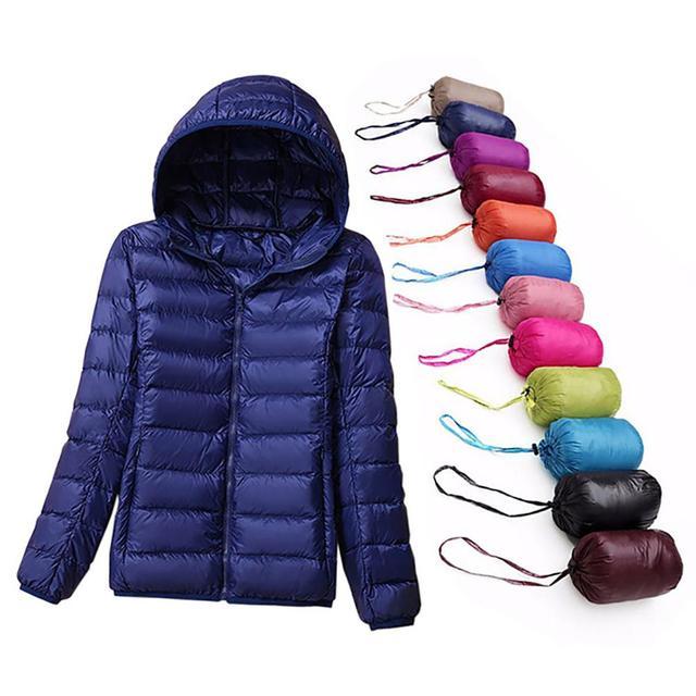 Plus Size 7XL Women Winter Coat White Duck Down Jackets Female Slim Hooded Down Coat Portable Plus Size Ultra Light Down Parkas