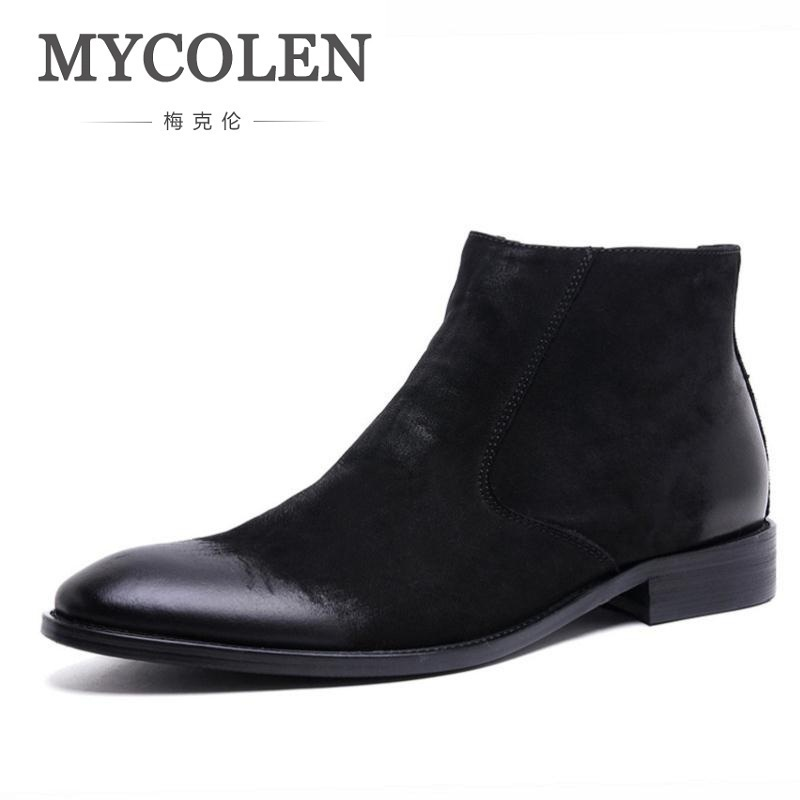 MYCOLEN Autumn Leather Men Boots Warm Fur Men Winter Shoes Handmade Russian Style Leisure Martin Boots Sapato Masculino Social