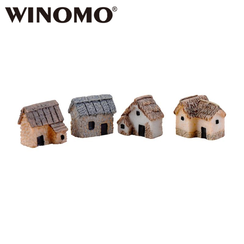 WINOMO 4PCS Miniature Gardening Landscape Micro Village Stone Houses Thumbnail House Thatched Huts For Garden Decor