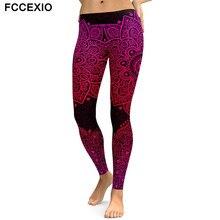 FCCEXIO New Women Leggings Red Mandala Flower Printed Woman Leggins Aztec Round Ombre Fitness High Waist Trouser Pants