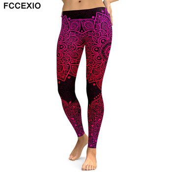 FCCEXIO New Women Leggings Red Mandala Flower Printed Woman Leggins Aztec Round Ombre Fitness High Waist Trouser Women Pants from aztec to high tech